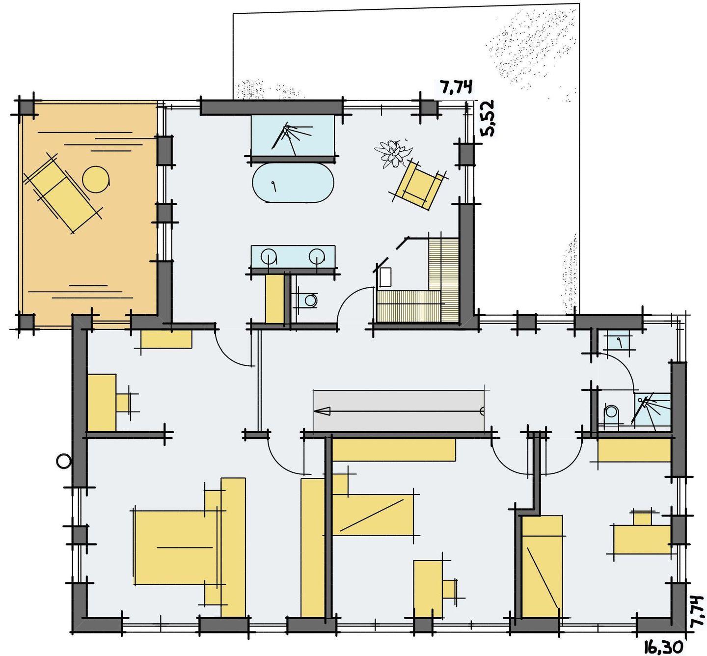 Haus thomann kubismus mit satteldach for Frank flechtwaren katalog anfordern